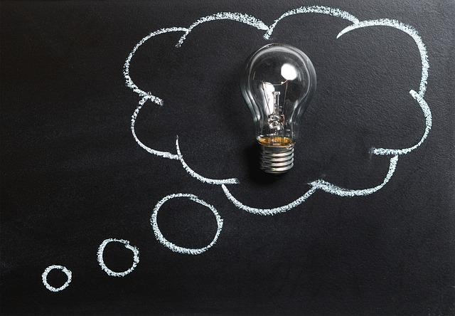 učit, se, vzdělávání, tabule, žárovka,